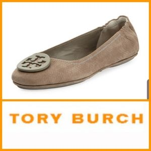 TORY BURCH Minnie Snake-Embossed Ballet Flat
